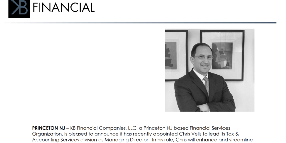 KB Financial Announces Chris Velis To Lead Its Tax & Accounting Services Division As Managing Director