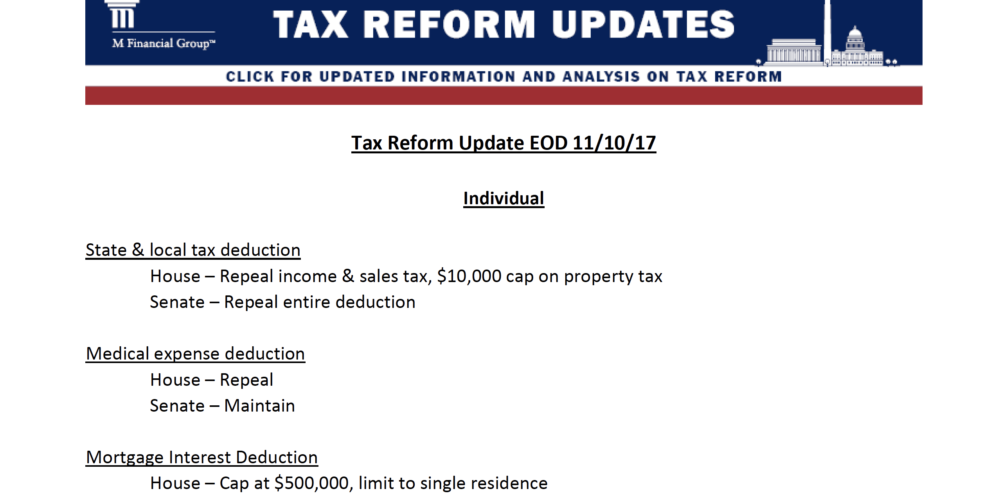 Tax Reform Update EOD 11/10/17